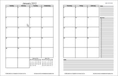 """Free 2-Page Monthly Downloadable Planner    This version of the monthly planner is designed for printing on 2 facing pages in a 3-ring binder, as shown in the image to the left.    """"No Installation, No Macros - Just a simple spreadsheet - An original creation by Dr. Jon Wittwer of Vertex42.com"""""""