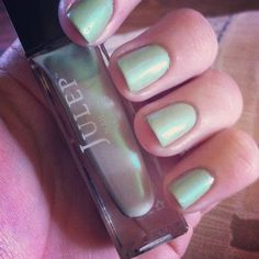 St. Patrick's Day Nails! Love this Julep color as an iridescent top coat!