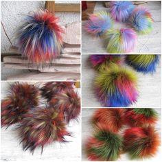 """10 Faux Fur Pom Poms,  Rainbow, 10 - 12 cm / 4 - 4.7 """" Very Soft  Fur Pom pom For handbag, hats, keychain"""