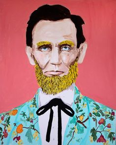 Abraham Lincoln with yellow beard and Gucci suit