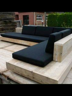 Some outdoor seating would be awesome! ^_^ Timber seating with black cushions. A beautiful and timeless combination. Pinned to Garden Design - Outdoor Furniture by Darin Bradbury. Garden Seating, Outdoor Seating, Outdoor Rooms, Outdoor Living, Outdoor Decor, Outdoor Couch, Backyard Seating, Outdoor Wooden Benches, Outdoor Lounge Chairs