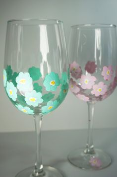 Set of 2 Floral Wine Glasses  Hand Painted by MelissaWynneDesigns, $32.00