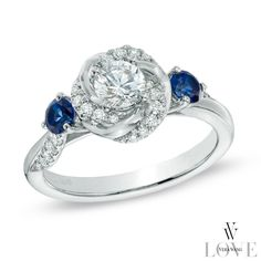 Vera Wang LOVE Collection 5/8 CT. T.W. Diamond and Blue Sapphire Swirl Engagement Ring in 14K White Gold - View All Rings - Zales
