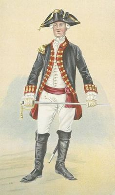 "Officer, Royal Regiment of Artillery, 1778 - ""This officer of the Royal Regiment of Artillery wears the traditional blue coat of a British gunner. During the American War of Independence, companies of British artillery were posted in large garrisons such as Quebec and Halifax but also had small detachments in the frontier forts."""