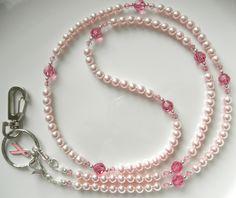 Pink Swarovski Pearl Lanyard Necklace, Breast Cancer Lanyard ID Badge Holder, Convertible Pink Swarovski Lanyard, Pearl Eyeglass Lanyard Beaded Jewelry, Beaded Bracelets, Lanyard Necklace, Beaded Lanyards, Swarovski Pearls, Badge Holders, Breast Cancer, Area Measurement, Beading