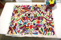 Multi colored one of a kind Hand Embroidered Otomi Table runner Textil – Casa CAT   Mexico, Tenango, mexican wedding, textile, mexican suzani, suzani, embroidery, hand embroidered, otomi, www.casaotomi.com, otomi, table runner, fiber art, mexican, handmade, original, authetic, textile , mexico casa, mexican decor, mexican interior, frida, kahlo, mexican folk,  folk art, mexican house, mexican home, puebla collection, las flores, travel tote, boho, tote, handbag, purse, cushion, pillow,