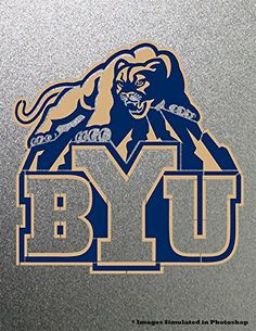 """BYU Brigham Young University Cougars Stencil Painting Logo Symbol Metal Art Painting NCAA. An 8.5"""" x 11"""" painting created by spray painting sheet metal with various custom made stencils and layers of color. Each painting is unique and can be customized with a jersey number."""