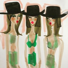 «Green lingerie and top hats»