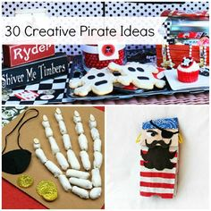 grape swords, pirate map invite, & guide to being a pirate with names, draw your flag & talk like a pirate