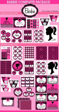 Vintage Barbie Party- Barbie Birthday - Barbie - Glamour Party - COMPLETE Printable Package - Krown Kreations