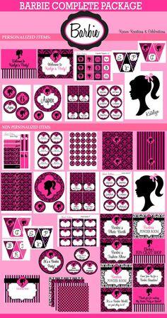 Vintage Barbie Party- Barbie Birthday - Barbie - Glamour Party - COMPLETE Printable Package - Krown Kreations