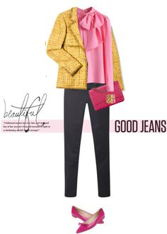 Yellow jacket, pink blouse, pink flats, jeans   Spring, summer, fall