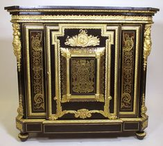 A Fine French Napoleon III Ebonized, Gilt-Bronze Mounted and Tortoiseshell Meuble à Hauteur d'Appui in the Manner of André Charles Boulle (F...