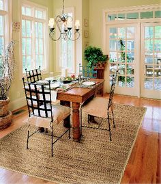 A great rug can make hardwood floors look so pretty!