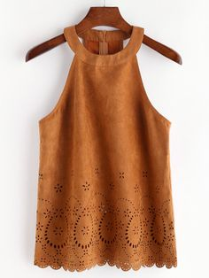 Shop Laser Cut Scallop Hem Zip Back Suede Halter Top online. SheIn offers Laser Cut Scallop Hem Zip Back Suede Halter Top & more to fit your fashionable needs. Rodeo Outfits, Date Outfits, Western Outfits, Summer Outfits, Mode Top, Mode Style, Summer Tops, Hippie Boho, Teen Fashion