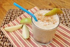 Pear banana cinnamon smoothie with almond milk, cinnamon and vanilla protein powder.  From runningtothekitchen.com