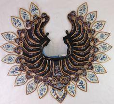 Great 19th Cen Chinese Silk Embroider Cloud Collar Metallic Threads Forbidden | eBay