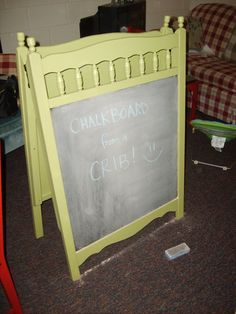 Make a chalkboard easel for your child after you retire the baby crib!