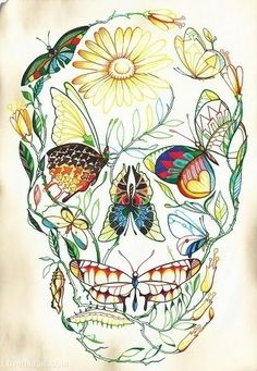 Nature Skull colorful nature butterfly art skull painting dragonfly. Yes, a million times yes. I want a giant print of this on my wall. - wonder if i could recreate?