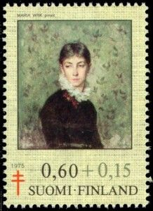 Stamp: Self-portrait by Hilda Wiik (Finland) (Fight against TBC) Mi:FI 771 Female Painters, Postage Stamp Art, Going Postal, Pin Up, Small Art, Illustrations, Women In History, Stamp Collecting, Finland