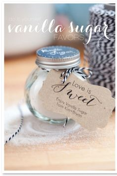 "DIY Vanilla Sugar Favors from Kimbry Studios Photography.for a bridal shower or luncheon"" data-componentType=""MODAL_PIN Creative Wedding Favors, Inexpensive Wedding Favors, Wedding Favors For Guests, Our Wedding, Dream Wedding, Wedding Gifts, Trendy Wedding, Do It Yourself Food, Marriage Reception"