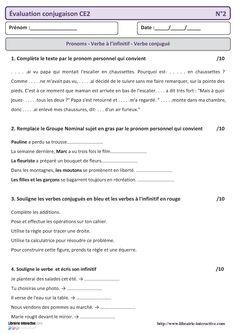 5 évaluations qui pourront servir de bilan en conjugaison pour le CE2.