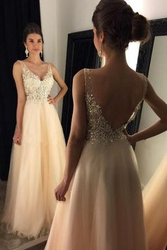 V-Neck Prom Dresses With Appliques,Beaded Long Prom Gowns,A-line Tulle Prom Dresses,Open Back Evening Dresses,Graduation Dresses