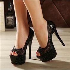 Shoespie Mesh Sequined Decoration Peep-Toe Stiletto Heels