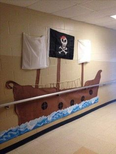 Our Pirate ship for open house hallway welcome display Pirate Party Decorations, Pirate Decor, School Decorations, Pirate Theme, Pirate Day, Pirate Birthday, Birthday Fun, Vbs Themes, Classroom Themes
