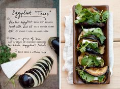 "These eggplant ""tacos"" are a tasty appetizer… It's basically just a little round of baked eggplant with brie and cilantro in the middle, folded up like a mini taco! via The Forest Feast"