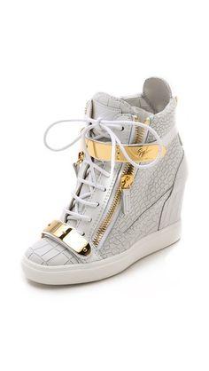 Giuseppe Zanotti Croc Embossed Wedge Sneakers   |  giuseppe    zanotti