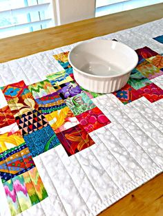 Quilted Table Runner Modern Table Runner by TheQuiltingViolinist