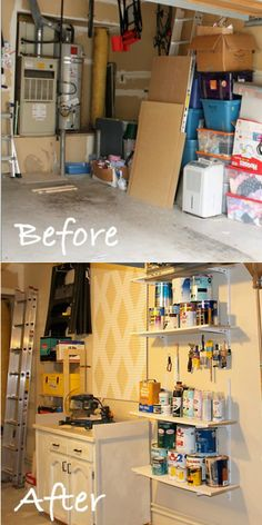 Use shelves and hooks to turn a garage wall into a work station.