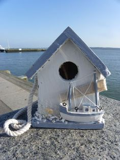 Blue and White Beach hut birdhouse