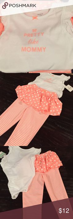 NWT! 18 month set NWT! Beautiful 18 month pant and onesies set Carter's Matching Sets