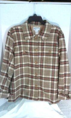 Pendleton Wool Blend Plaid long sleeve 2 pocket lined button up shirt L Vintage #Pendleton #ButtonDownShirt #Casual