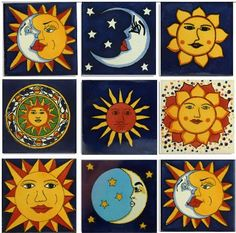 """The Sun and Moon Mexican Talavera Tile Collection is one square foot (nine 4""""x4"""" tiles) featuring bright sun and moon designs. Each tile is hand-painted by an artist in Mexico. Traditional Talavera tile is made with two kinds of reddish clay, rolled and cut by hand like dough, then fired in a mesquite kiln. This process gives each tile the slight irregularities that impart a unique antique, folk-art look. It has a special beauty that is perfect for many projects including indoor and outdoor…"""