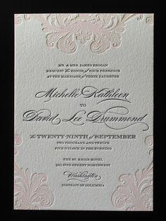 Letterpress Wedding Invitation with edge paint
