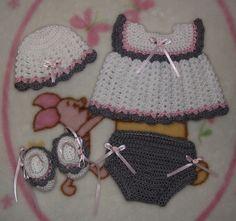 Baby Girl Crochet Diaper Dress Set - Hat, Dress, Diaper Cover, & Booties Sz Newborn (Made To Order). $24.99, via Etsy.