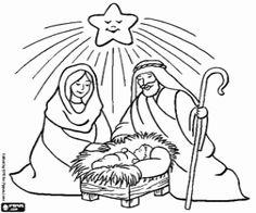 desenho de Jesus, Maria, José e a estrela para colorir
