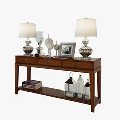 3D Eichholtz Military Console Table Oakwood