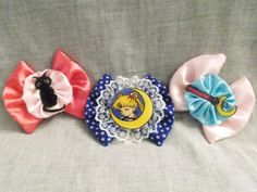 Nerdy Sailor Moon Hair Bow Clips by CrazyJanesCustoms on Etsy