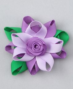 Take a look at this Loopy Loos Purple Flower Clip on zulily today! Hair Ribbons, Diy Hair Bows, Bow Hair Clips, Ribbon Art, Ribbon Crafts, Ribbon Bows, Ribbon Flower, Flower Hair, Purple Flowers