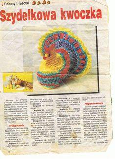 """czas na wielkanocne ozdoby trwa więc ciąg dalszy moich kurek …    a jeżeli ktoś chciałby spróbować zrobić to podaję """"przepis"""" na kurkę…. miłego szydełkowania. Crochet Edging Patterns, Easter Crochet Patterns, Crochet Purse Patterns, Crochet Doilies, Crochet Ripple Afghan, Puff Stitch Crochet, Crochet Chicken, Crochet Christmas Trees, Crochet For Beginners Blanket"""