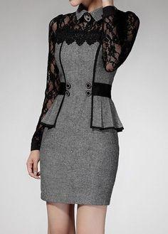 Lace Panel Flat Collar Peplum Waist Grey Dress   Rosewe.com - USD $38.02 #cheapfashionideas