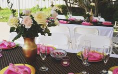 Classic black/gold/pink decor with a pop of garden and standard roses are the perfect look for this bridal shower!