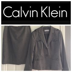 Calvin Klein 2 piece suit Beautiful grey Calvin Klein 2 piece business suit, size 10. Fully lined, great tailoring & details, logo buttons, straight skirt, back slit. So nice!! Calvin Klein Jackets & Coats Blazers