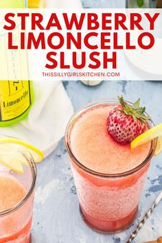Strawberry Limoncello Cocktail, a refreshing adult slushie perfect for summer! A limoncello cocktail that is delicious and easy to make- sign me up! #strawberrylimoncello #cocktail Strawberry Wine, Strawberry Lemonade, Limoncello Cocktails, Sparkling Wine, Slushies, Easy Meals, Good Food, Appetizers, Posts