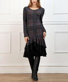 Another great find on #zulily! Charcoal & Black Plaid Ruffle Hem Dress #zulilyfinds