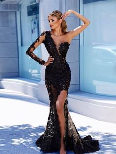 Tendance robes de soirée   Sheath Column One Shoulder Floor-length Long  Sleeve Tulle Prom Dress Evening Dress   ON012 34b8130d97ad